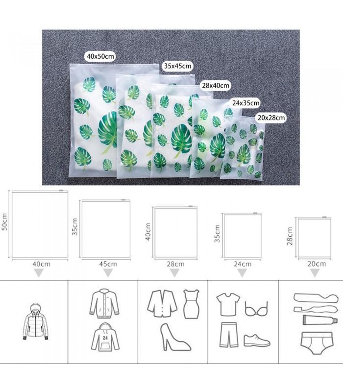 5бр. водоустойчиви торбички за дрехи и козметика с апликация на листа и на фламинго - 8