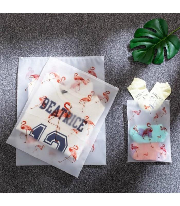 5бр. водоустойчиви торбички за дрехи и козметика с апликация на листа и на фламинго - 7