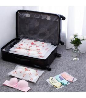 5бр. водоустойчиви торбички за дрехи и козметика с апликация на листа и на фламинго - 3
