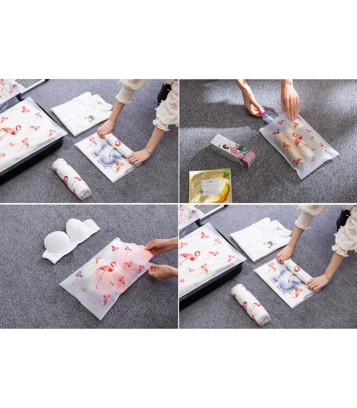 5бр. водоустойчиви торбички за дрехи и козметика с апликация на листа и на фламинго - 9