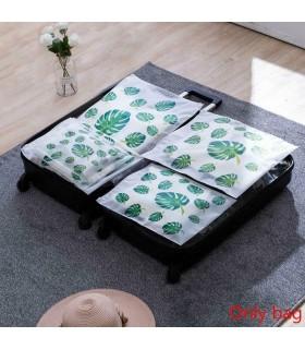 5бр. водоустойчиви торбички за дрехи и козметика с апликация на листа и на фламинго - 5