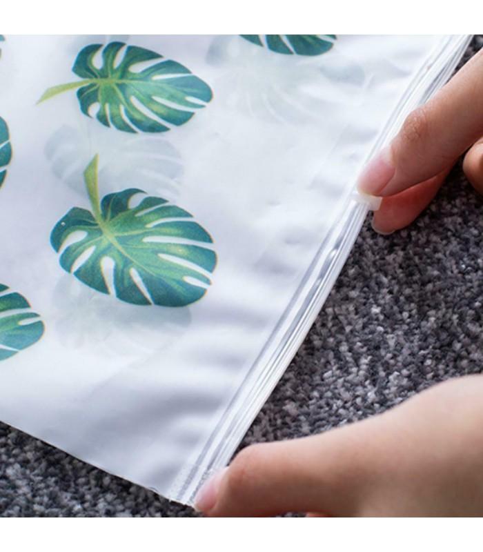 5бр. водоустойчиви торбички за дрехи и козметика с апликация на листа и на фламинго - 6