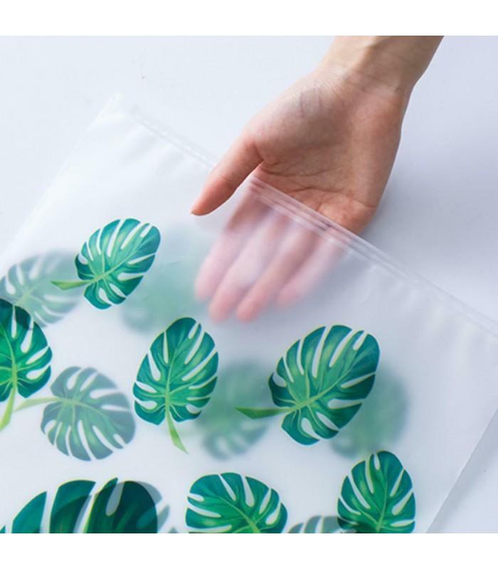 5бр. водоустойчиви торбички за дрехи и козметика с апликация на листа и на фламинго - 11