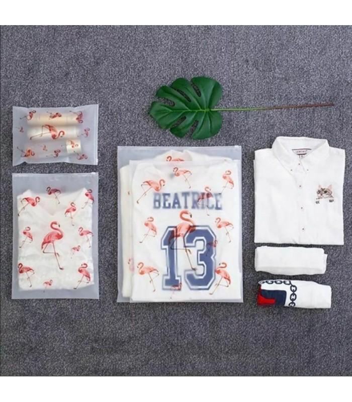 5бр. водоустойчиви торбички за дрехи и козметика с апликация на листа и на фламинго - 14