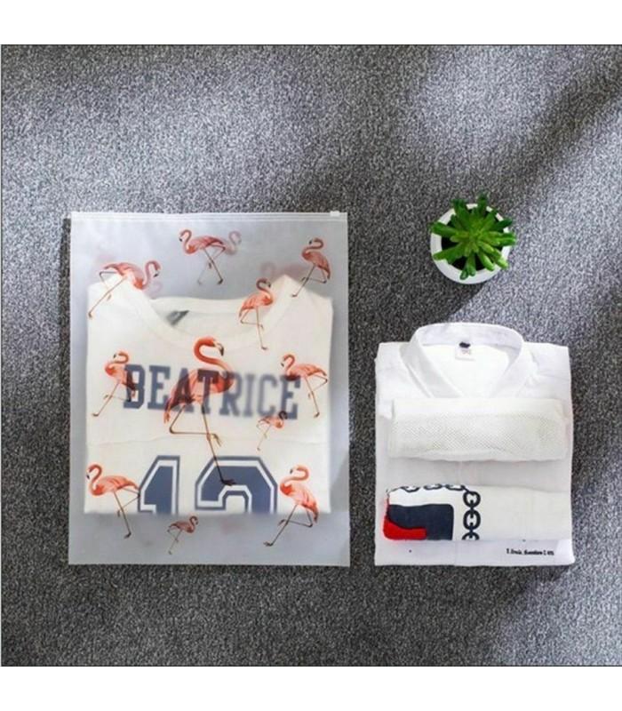 5бр. водоустойчиви торбички за дрехи и козметика с апликация на листа и на фламинго - 15