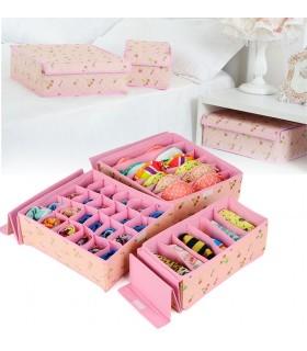 Комплект от 3бр. розови органайзери за бельо и чорапи с капаци
