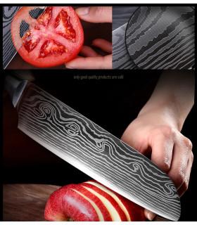 """8"""" кухненски нож от дамаска стомана с подаръчна кутия - 4"""