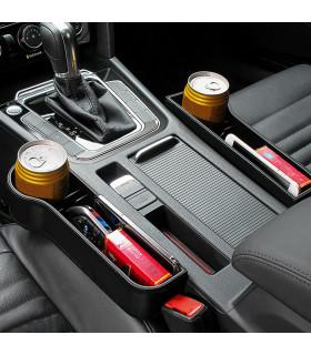 Органайзер за автомобил за чаша и телефон с кожено покритие