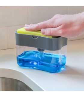 2 в 1 диспенсър за препарат за миене с кухненска гъба - 1