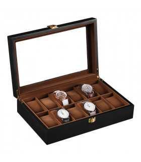 Черна дървена кутия за часовници - 1