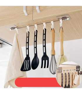 Самозалепяща се закачалка за кухненски прибори със 6 куки - 1