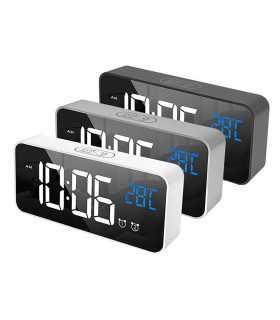 Красив настолен часовник с големи цифри и термометър - 8808 - 1