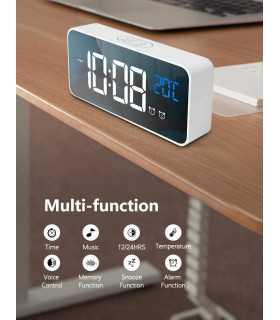 Красив настолен часовник с големи цифри и термометър - 8808 - 7