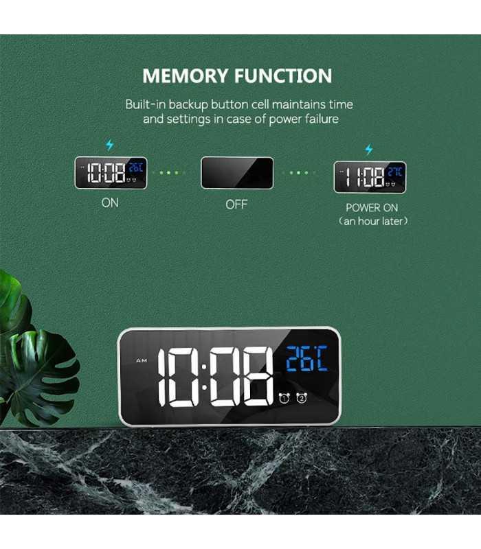 Красив настолен часовник с големи цифри и термометър - 8808 - 5