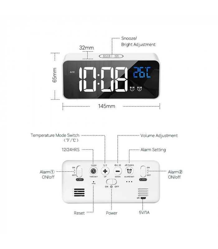 Красив настолен часовник с големи цифри и термометър - 8808 - 11