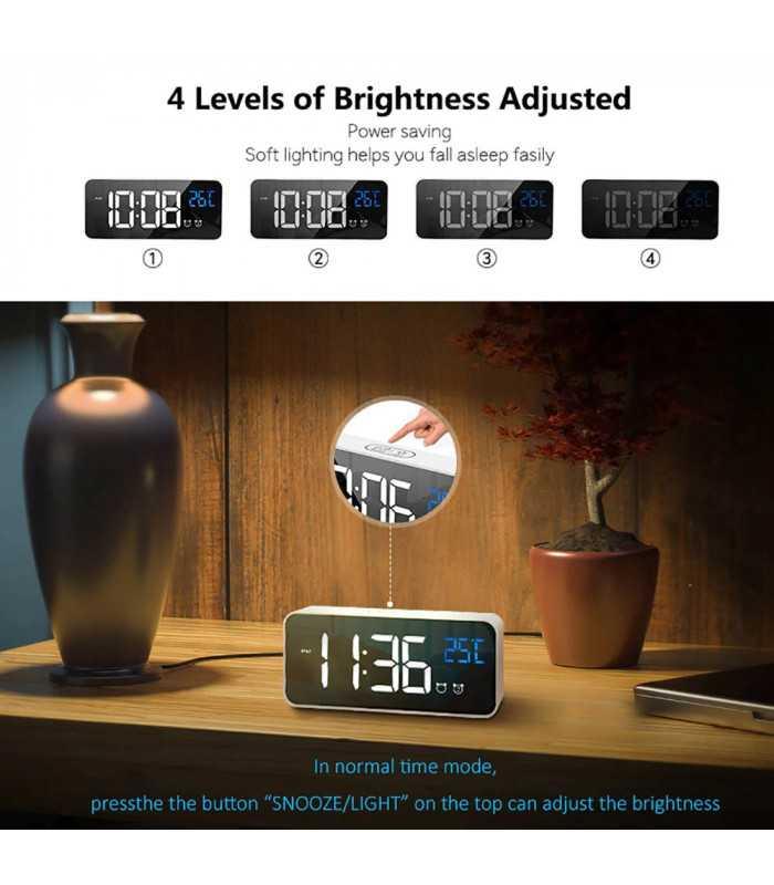 Красив настолен часовник с големи цифри и термометър - 8808 - 3