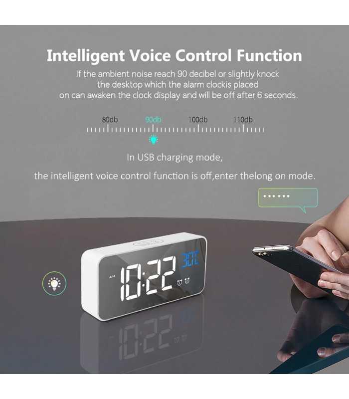 Красив настолен часовник с големи цифри и термометър - 8808 - 8