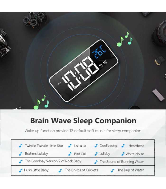Красив настолен часовник с големи цифри и термометър - 8808 - 9