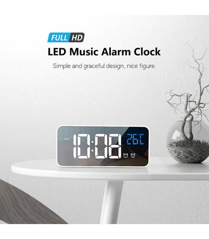 Красив настолен часовник с големи цифри и термометър - 8808 - 10