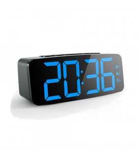 Настолен часовник с големи сини цифри и регулиране на яркостта - 1
