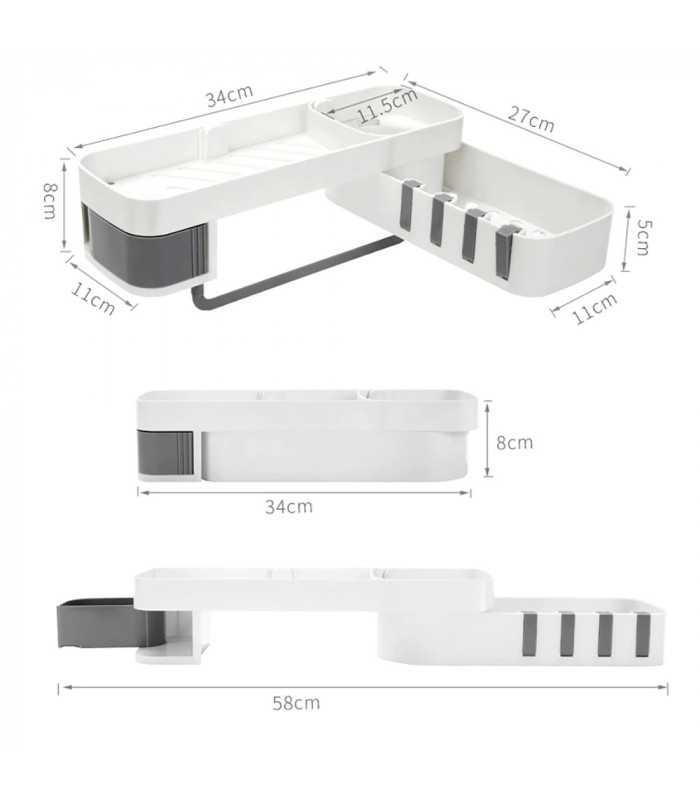 Самозалепваща етажерка за баня на 2 нива - 10