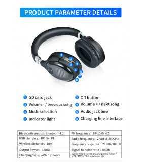 Безжични Bluetooth стерео геймърски слушалки с еквалайзер - 12