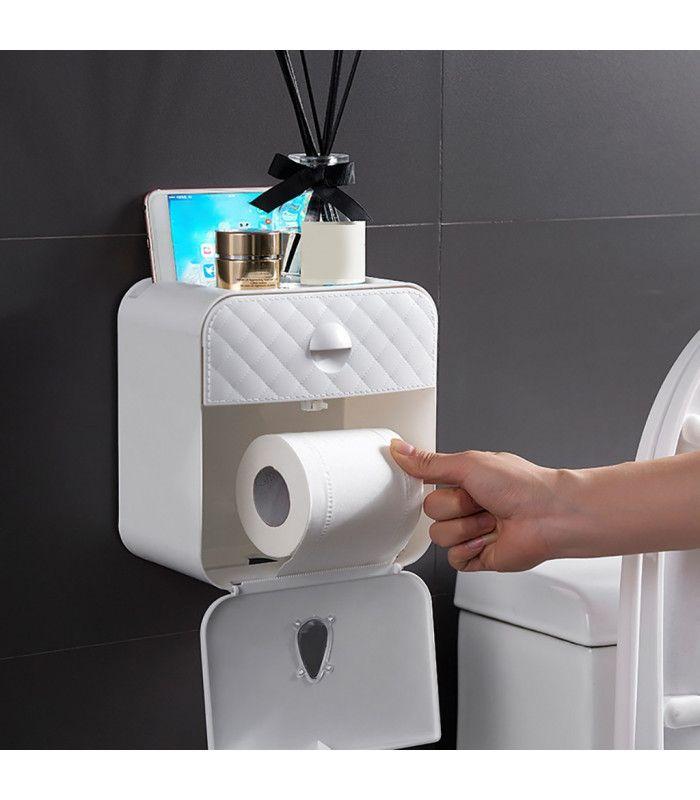 Водоустойчива поставка за тоалетна хартия с рафт и чекмедже - 1