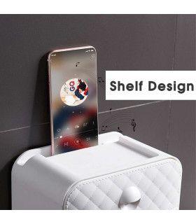 Водоустойчива поставка за тоалетна хартия с рафт и чекмедже - 4