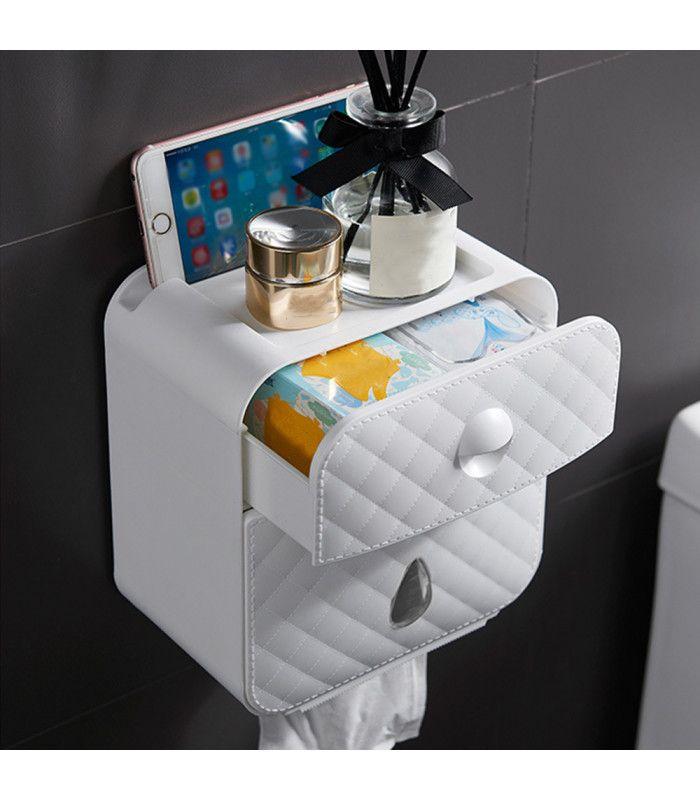 Водоустойчива поставка за тоалетна хартия с рафт и чекмедже - 2