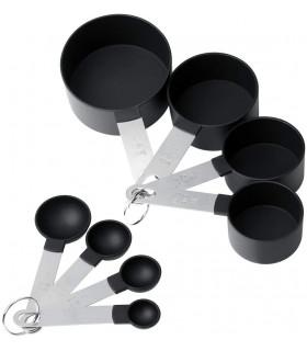 8бр. мерителни чашки и лъжички със стоманена дръжка - 1