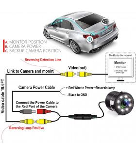 Камера за задно виждане за автомобил с 8 диода - 8