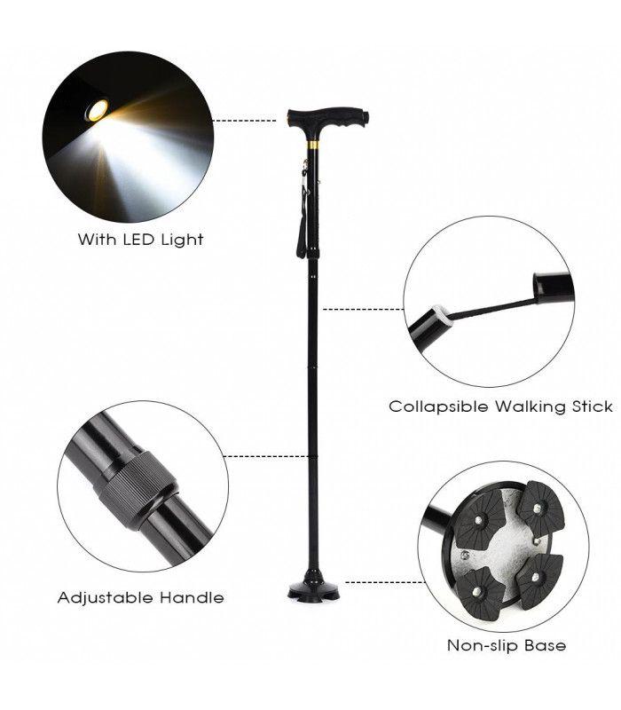 Регулируем бастун със стабилна основа и фенерче - 2