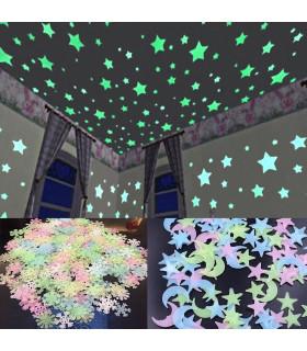 100 броя фосфоресциращи звездички за детска стая - 1