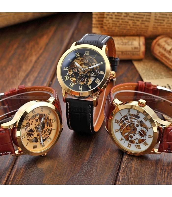 Часовник скелетон Gold Case с видим механизъм - 1