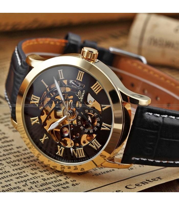Часовник скелетон Gold Case с видим механизъм - 2