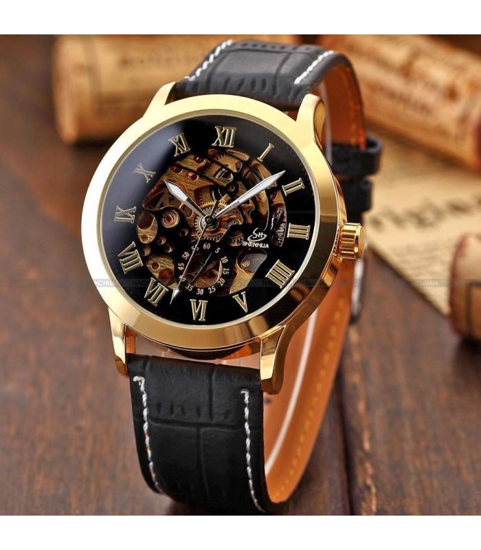 Часовник скелетон Gold Case с видим механизъм - 3