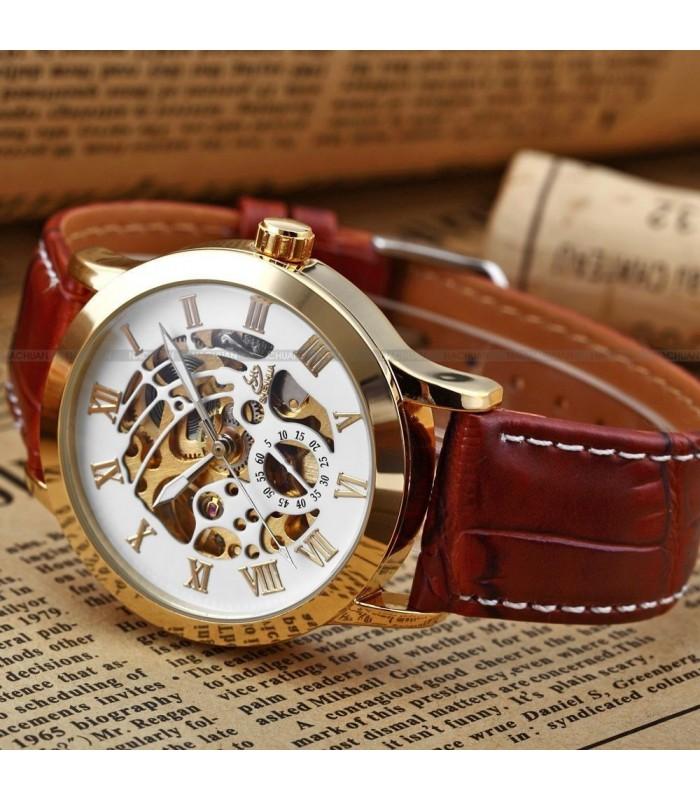 Часовник скелетон Gold Case с видим механизъм - 4
