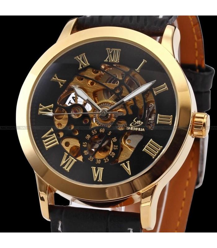 Часовник скелетон Gold Case с видим механизъм - 5