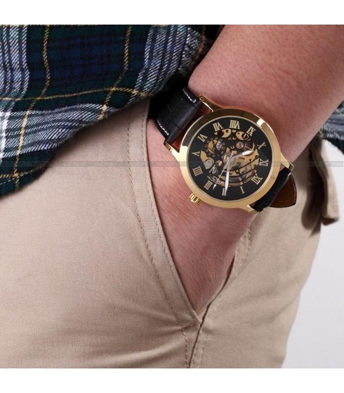 Часовник скелетон Gold Case с видим механизъм - 6