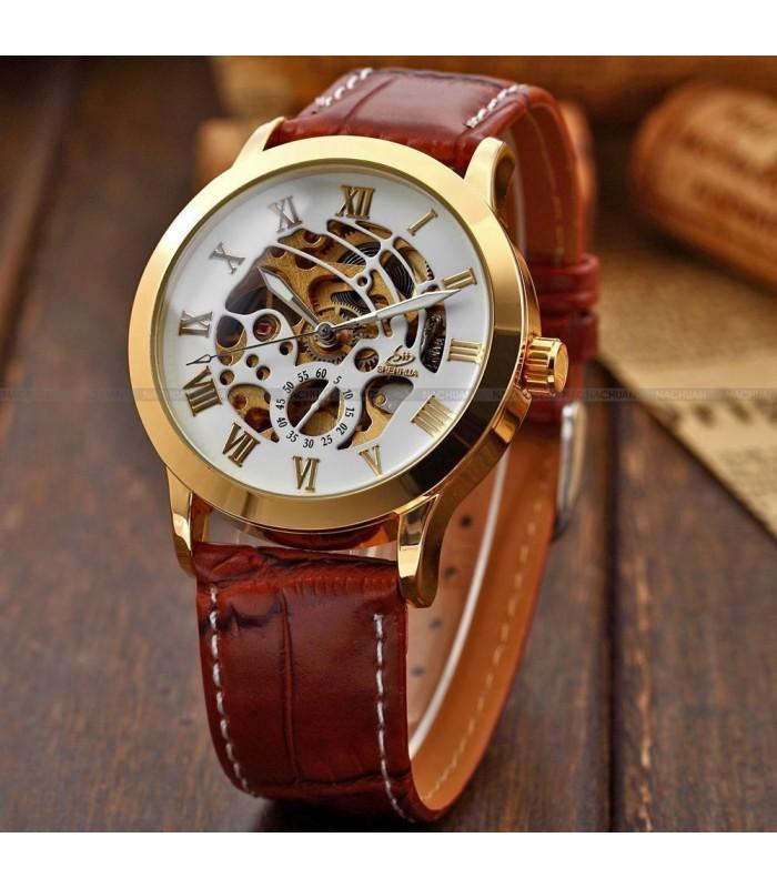 Часовник скелетон Gold Case с видим механизъм - 7