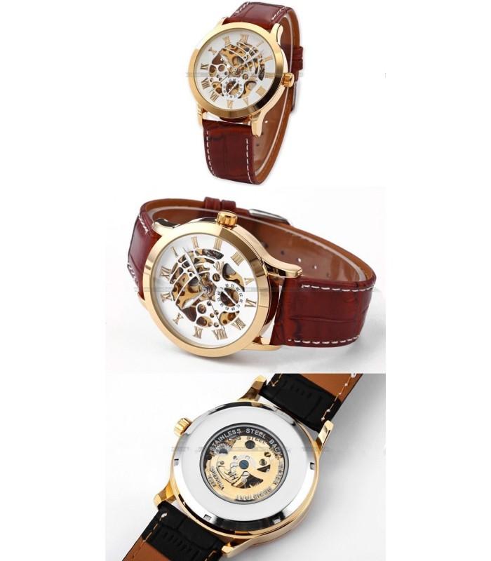 Часовник скелетон Gold Case с видим механизъм - 9