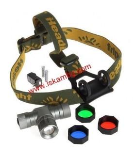 Акумулаторен CREE Q5 LED челник с регулировка на фокуса с 3 филтъра