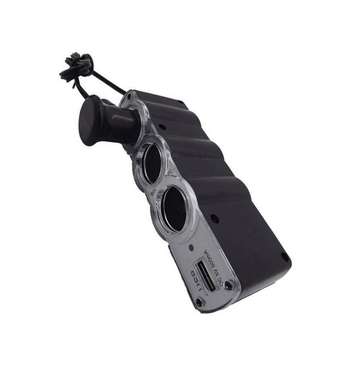 Разклонител за запалка на кола + USB - 2