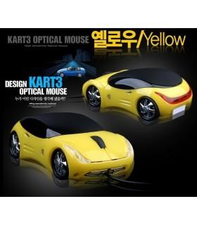 Мишка с форма на кола ферари - жълта
