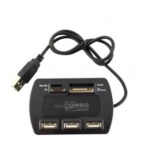 Комплект USB hub 4 порта + четец на карти