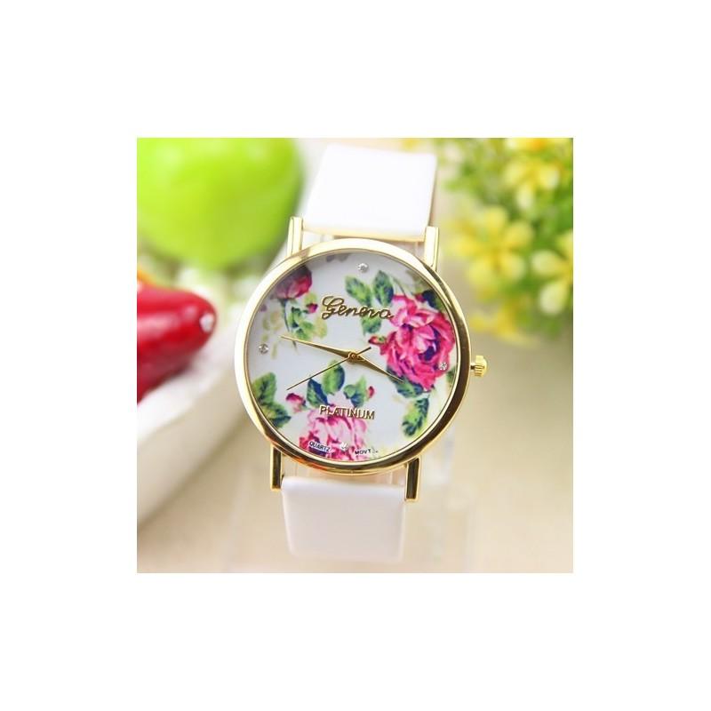 Дамски часовник с цветя - Зелен