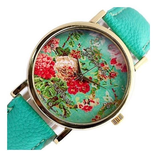 Дамски часовник с цветя Geneva - Бял