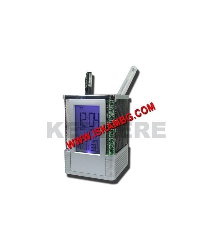 LCD часовник / термометър с моливник