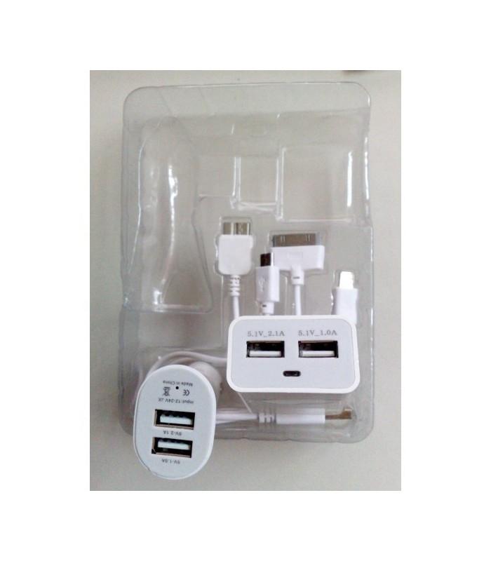 3в1 Универсално USB зарядно 2.1A 1.0A