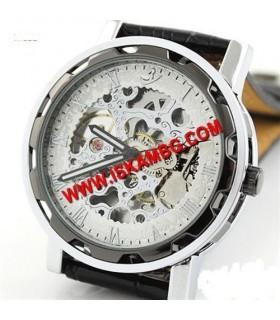 Елегантен часовник White Skeleton с видим механизъм